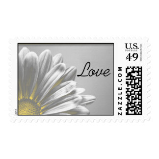 Yellow Floral Highlights Wedding Love Postage