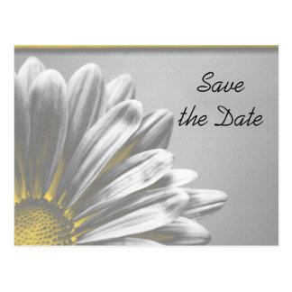 Yellow Floral Highlights Wedding Save the Date Postcard