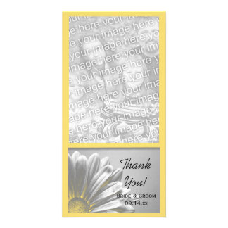 Yellow Floral Highlights Wedding Thank You Card
