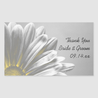 Yellow Floral Highlights Wedding Thank You Tags Rectangular Sticker