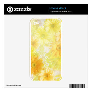 Yellow Floral iPhone 4/4S Decals For The iPhone 4S