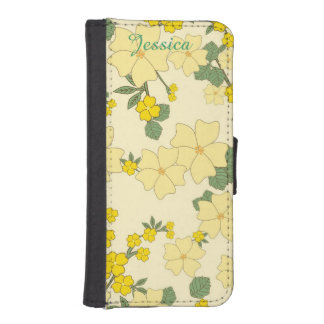 Yellow Floral iPhone 5 Wallet Style Case