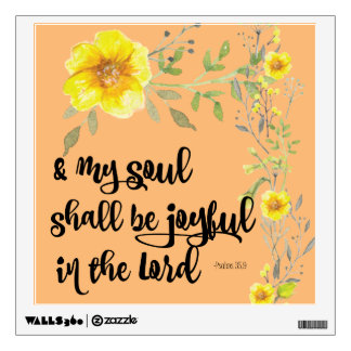 Yellow Floral Joy Bible Verse Wall Decal