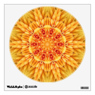 Yellow floral kaleidoscope wall decal