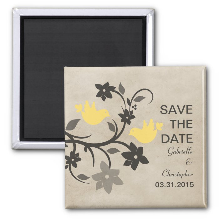 Yellow Floral Lovebirds Save the Date Magnet