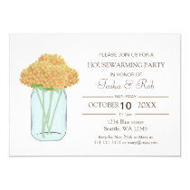 Yellow floral mason jar Housewarming Invitation