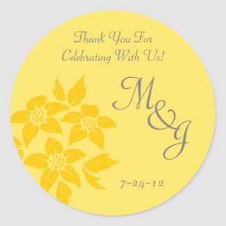 Yellow Floral Monogrammed Wedding Favor Labels Classic Round Sticker