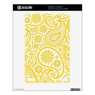 Yellow Floral Paisley Monogram Pattern Decal For The Kindle