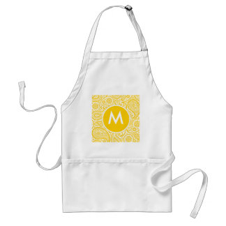 Yellow Floral Paisley Pattern Adult Apron
