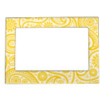 Yellow Floral Paisley Pattern Picture Frame Magnets