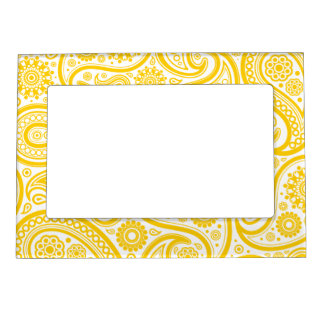 Yellow Floral Paisley Pattern Picture Frame Magnet