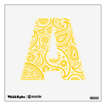 Yellow Floral Paisley Pattern Wall Decal