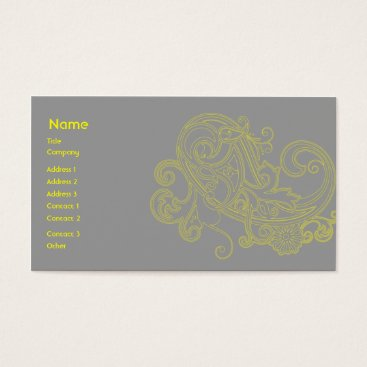 Professional Business Yellow Floral Pattern - Business Business Card