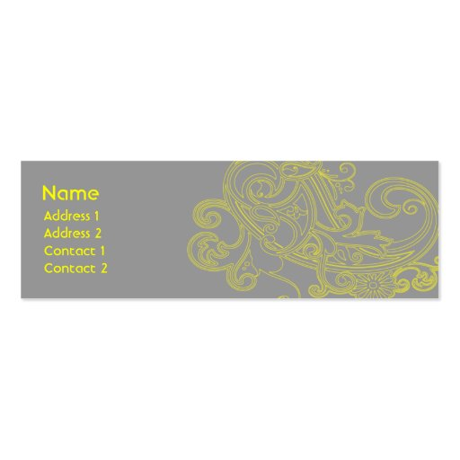 Yellow Floral Pattern - Skinny Business Card Templates