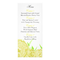 yellow floral Personalized Menu cards