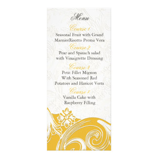 yellow floral Personalized Menu cards Custom Rack Card