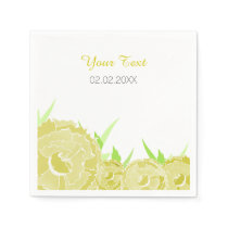 yellow floral personalized wedding napkins