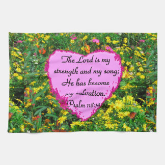 YELLOW FLORAL PSALM 118:14 PHOTO HAND TOWELS