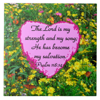 YELLOW FLORAL PSALM 118:14 PHOTO TILE