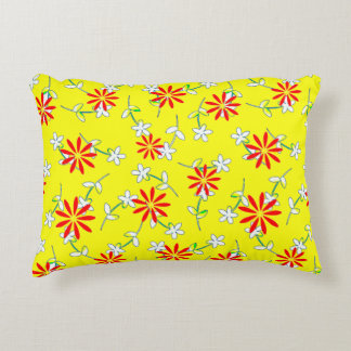 Yellow Floral Purple Monogram 4Ruth Accent Pillow