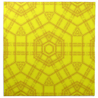 Yellow Floral Retro Art Nouveau Napkin