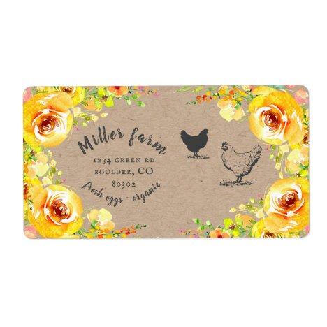 yellow floral rustic script Egg Carton Label