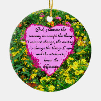 YELLOW FLORAL SERENITY PRAYER PHOTO CERAMIC ORNAMENT