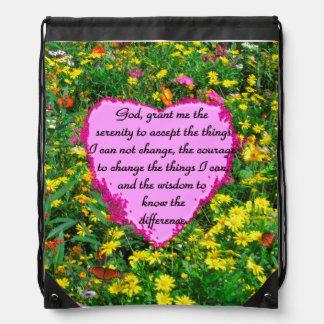 YELLOW FLORAL SERENITY PRAYER PHOTO DRAWSTRING BAG