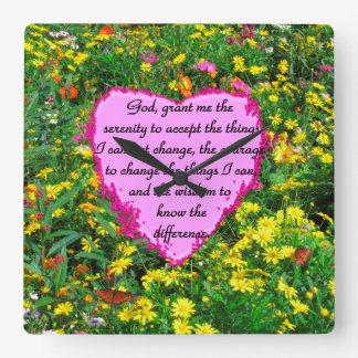 YELLOW FLORAL SERENITY PRAYER PHOTO SQUARE WALL CLOCK