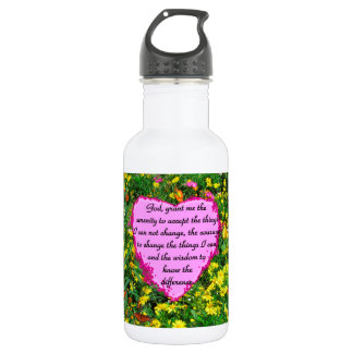 YELLOW FLORAL SERENITY PRAYER PHOTO STAINLESS STEEL WATER BOTTLE