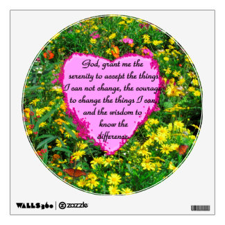 YELLOW FLORAL SERENITY PRAYER PHOTO WALL DECAL