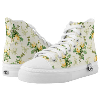 Yellow floral sneakers Yellow roses canvas shoes