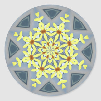Yellow Floral Snowflake Classic Round Sticker