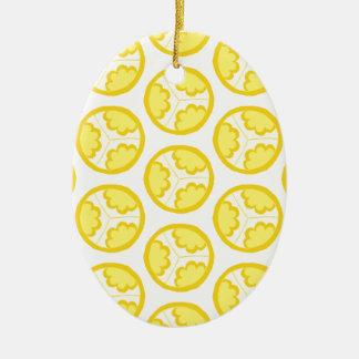 Yellow floral spheres ceramic ornament