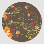 Yellow Floral Swallows 2 Gift Party Label /Sticker