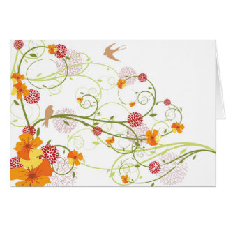 Yellow Floral Swallows Invitation / Save Date / TQ Greeting Card