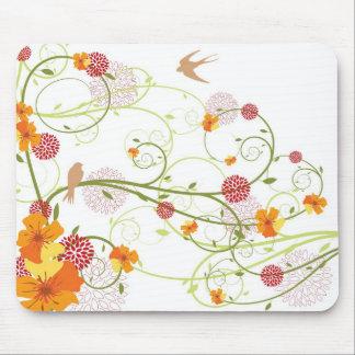 Yellow Floral Swallows Mousepad