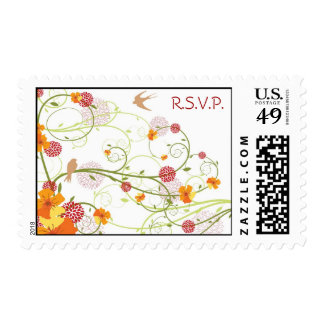 Yellow Floral Swallows RSVP / Invitation / TQ / Postage Stamp