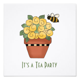 Yellow Floral Tea Party Invitation