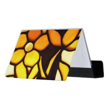 McTiffany Tiffany Aqua Yellow Floral Tiffany Look Desk Business Card Holder