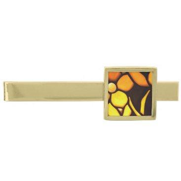 McTiffany Tiffany Aqua Yellow Floral Tiffany Look Gold Finish Tie Clip