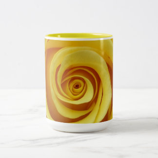 Yellow Floral Two-Tone Coffee Mug