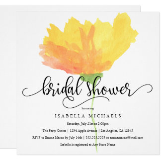 Yellow Floral Watercolor | Bridal Shower Invite
