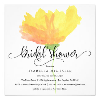 Yellow Floral Watercolor   Bridal Shower Invite