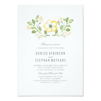 Yellow Floral Watercolor Engagement Party Card
