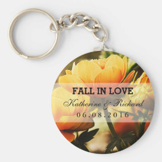 Yellow Floral Wedding and Bridal Shower Keychain