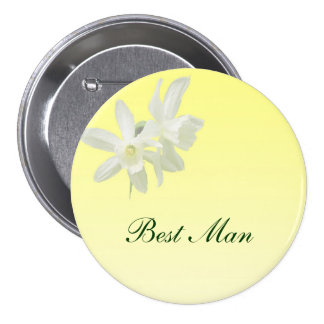 Yellow Floral Wedding Best Man Pin