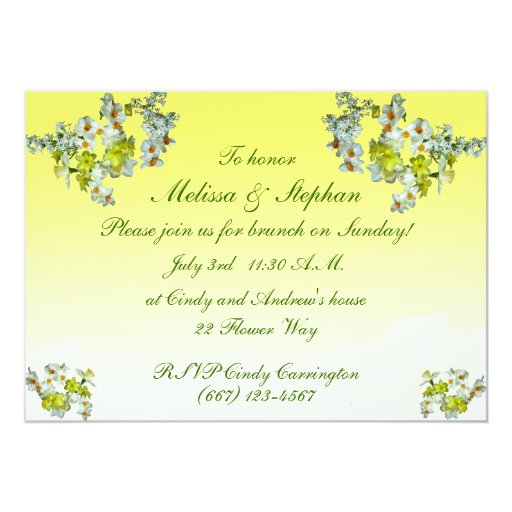 Yellow Floral Wedding Brunch 5x7 Paper Invitation Card