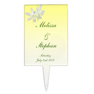 Yellow Floral Wedding Cake Topper