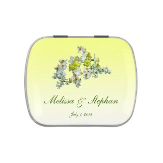 Yellow Floral Wedding Favor Jelly Belly Candy Tin